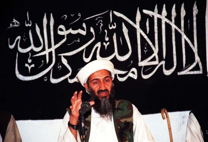 This undated file picture shows former Al-Qaeda leader Osama bin Laden speaking…