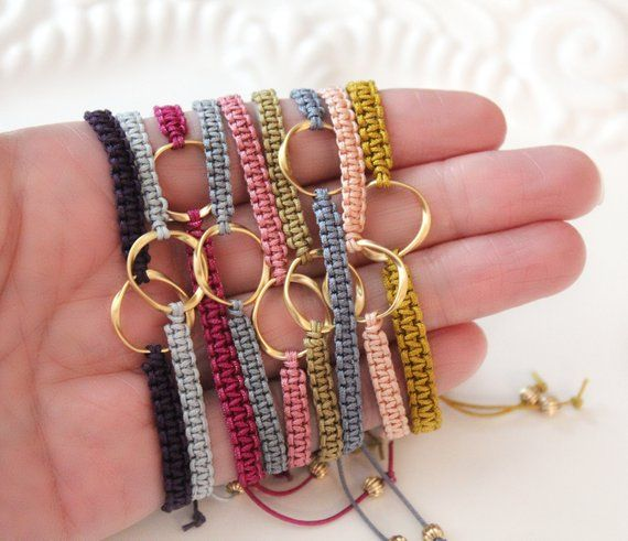 Macrame Bracelet, Karma Bracelet, Macrame Jewelry, Twisted Circle Link, Gold Plated Link, Adjustable Bracelet, Bridesmaid Gift Idea, Gift