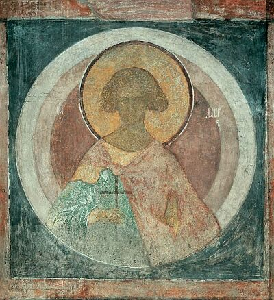 Andrei Rublev. Saint martyr Laurus. Fresco on the north-east column of Assumption Cathedral on the Gorodok in Zvenigorod