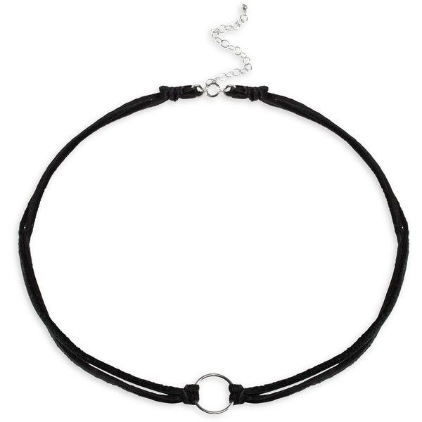 Dogeared Leather & Sterling Silver Karma Leather Choker ($38) ❤ liked on Polyvore featuring jewelry, necklaces, black, sterling silver choker necklace, sterling silver jewelry, leather choker necklaces, sterling silver circle necklace and leather jewelry
