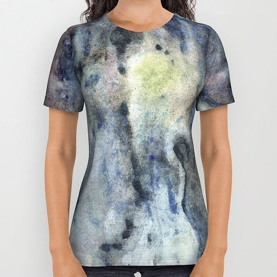 Deep blue and grey t-shirt with printed watercolor design.