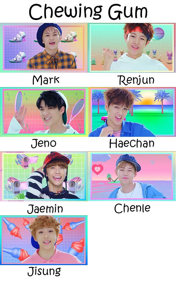 "The members of NCT in the ""Chewing Gum"" MV"