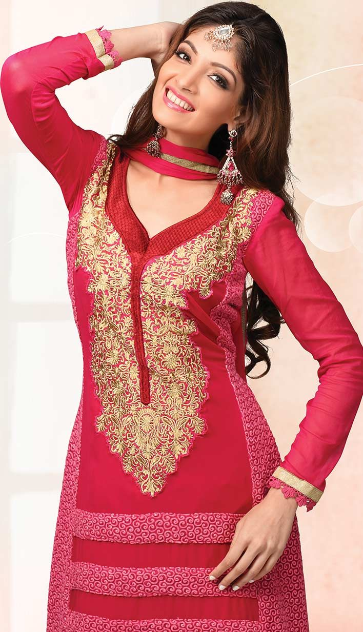 Fashionable Latest Red Georgette Party Wear Dresses,