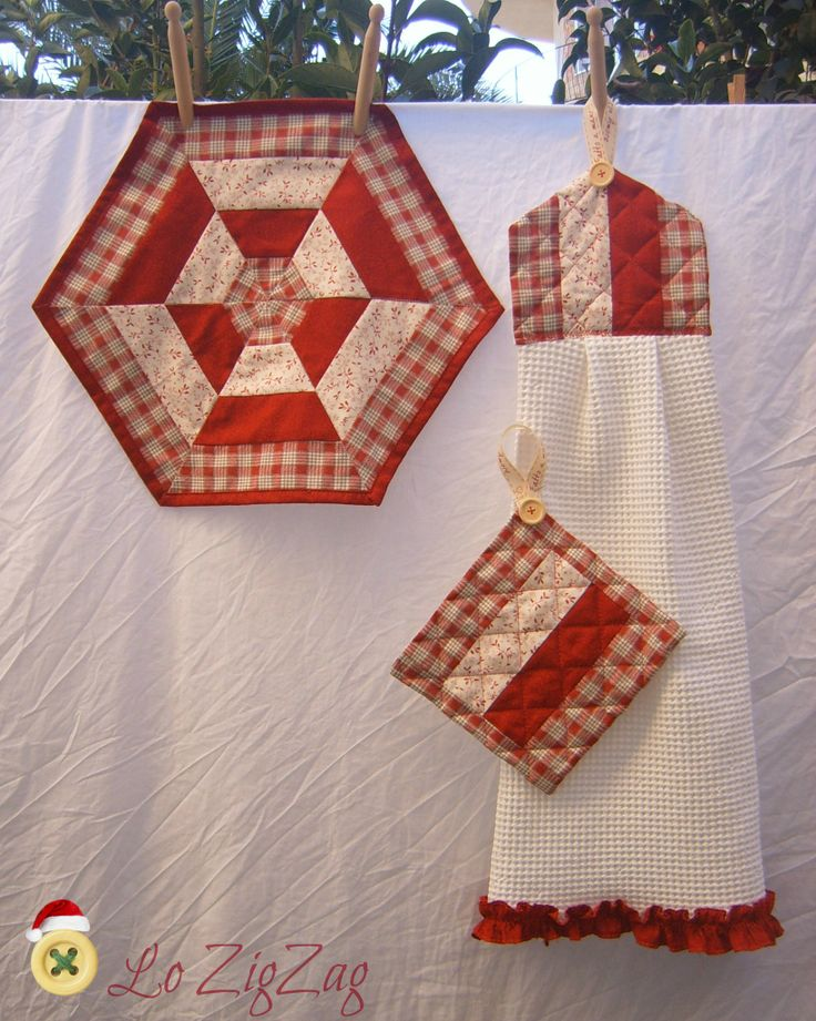 simple hexagon patchwork in red for kitchen.