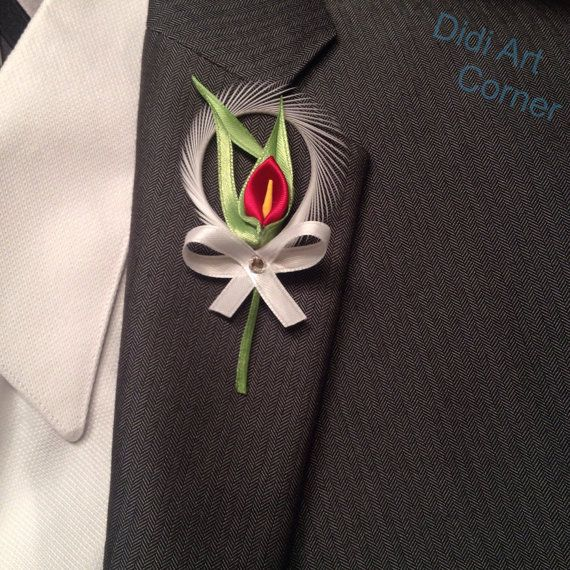 Red Calla Lily Boutonniere by DidiArtCorner on Etsy
