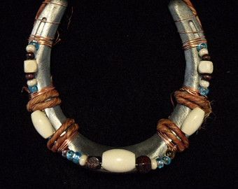 Beaded Horseshoe Art with Copper wire by CowboyCadillacHorse