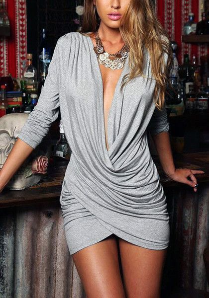This sexy grey wrap plunge dress is made of soft and comfortable cotton blend fabric. It's stretchable and lightweight too. | Lookbook Store Dress