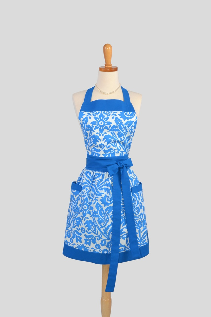 White aprons for sale - Full Bib Womens Apron Vintage Style Womans Apron In Blue And White Damask Retro Apron Kitchen Apron Personalize Or Monogram