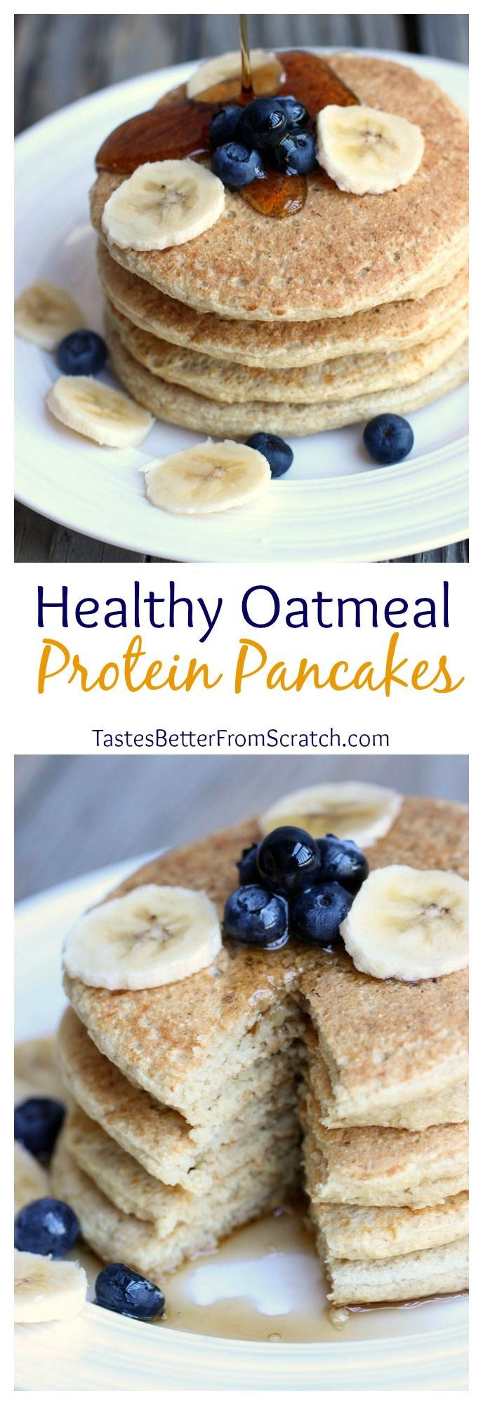 Healthy Oatmeal Protein Pancakes (Made without protein powder!)