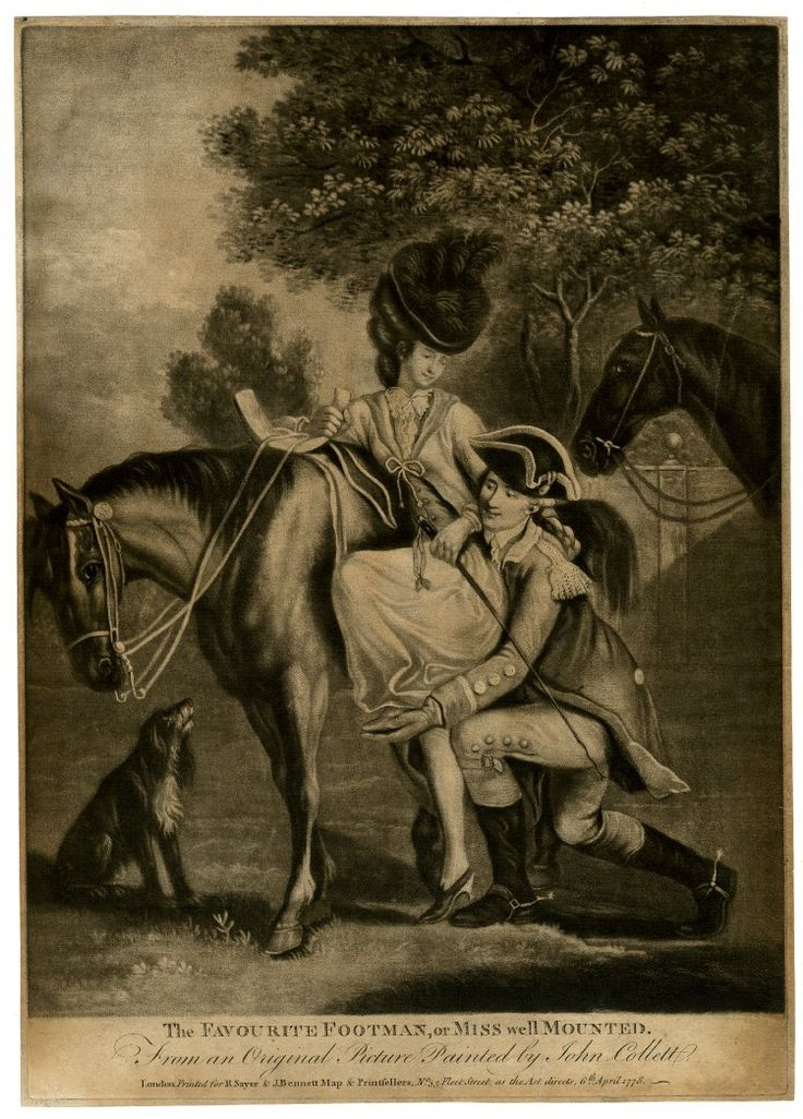 """""""The Favourite Footman, or Miss well Mounted"""", A footman kneeling to help a fashionable young lady in a plumed hat onto her horse, holding one of her feet and bending very close to her, while she smiles at him; a dog on the left and another horse waiting behind to right. 1778 Mezzotint with some burin."""