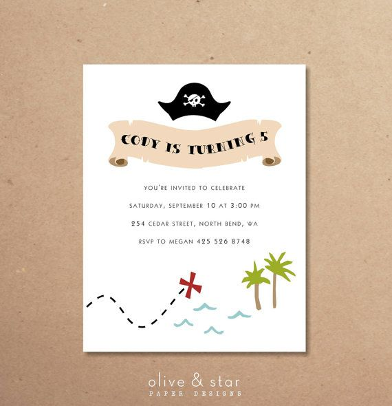 pirate treasure map  kids birthday invitation set by OliveandStar, $17.00