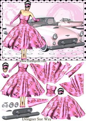 Rock Roll lady her Pink T bird Car Decoupage on Craftsuprint designed by Sue Way - A pretty lady in a 1950's style dress, with a flared skirt