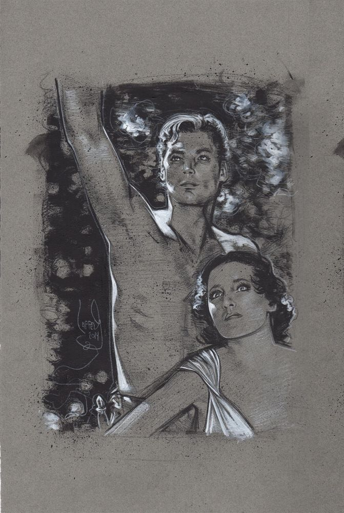Tarzan and Jane, Johnny Weissmuller, Original Drawing By Jeff Lafferty #Realism