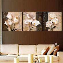 Modern 3 Parça Kahverengi Orkide Modern Sanat Dekor Duvar Boyama Oturma Odası Duvar Resimleri Tuval Hiçbir Çerçeve Üzerinde Baskı Resimler(China (Mainland))