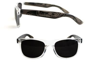 AVM Museum Shop:  Sunglasses with Wolf design by Haisla, Heiltsuk artist Paul Windsor.  Classic style, high quality recycled polycarbonate frames with UV 400 lenses.  Comes with a black pouch which doubles as a cleaning cloth.