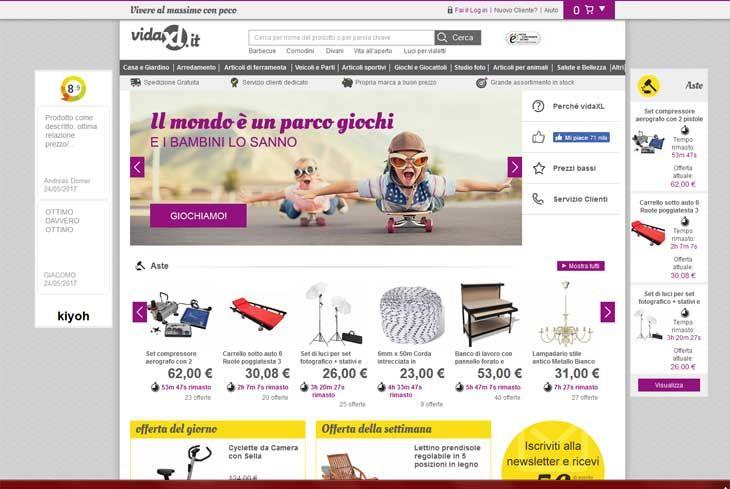 La pagina iniziale di #VidaXL un e-commerce in cui troverete tante offerte su mobili, arredamento (anche per esterni), oggetti ed utensili...