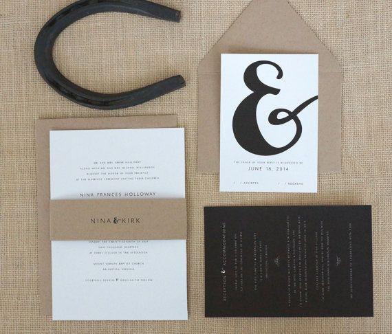 Modern Ampersand Wedding Invitations by DawnCorrespondence on Etsy, $515.00