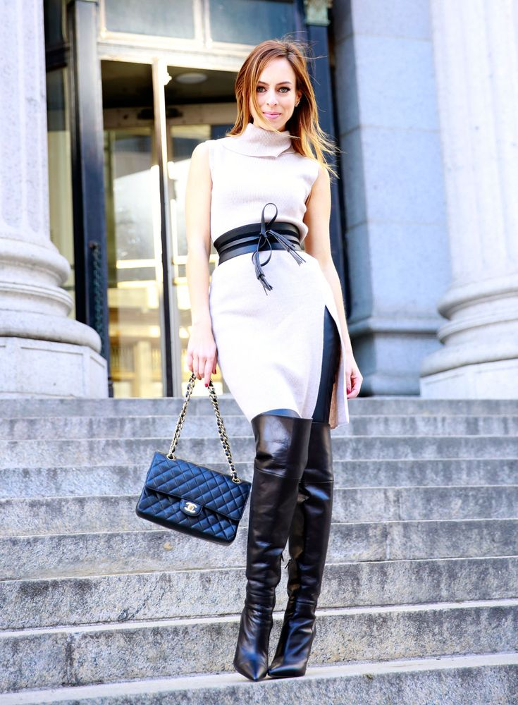 Sydne Style Shows Leather Leggings Trend At New York