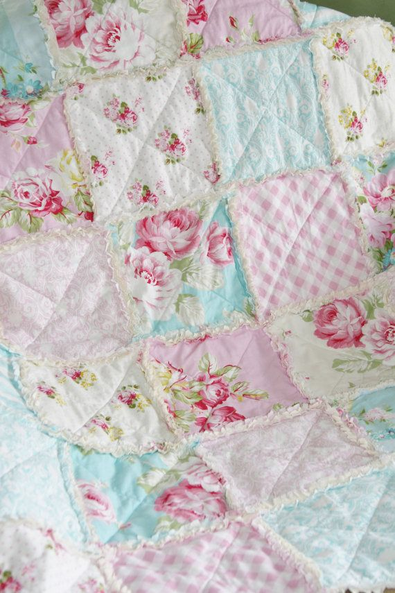Crib Rag Quilt Baby Girl Crib Bedding Shabby Chic Nursery Sunshine Roses Tanya Whelan Ready to Ship