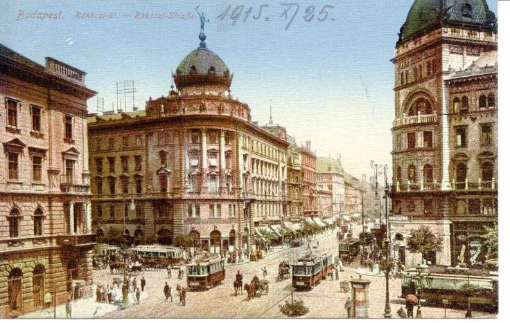 Budapest, Rákóczi út, József körút kereszteződés (Blaha Lujza tér).