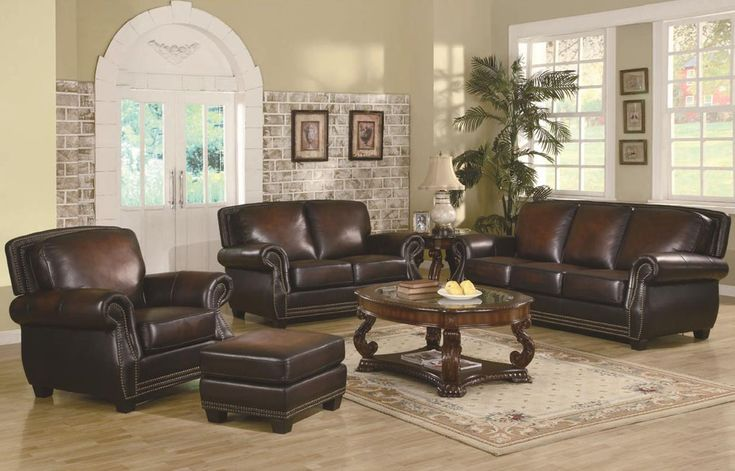 Leather Trimmed Sofa Traditional Rich Brown Leather