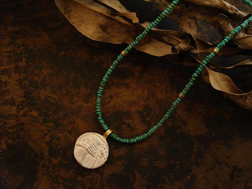 [Ancient Delusion : 016] Necklace-K18YG/SV/Turquoise