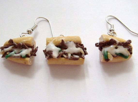 Philly Cheese Steak Sandwich Earrings and Charm (Set) - $10 on Etsy