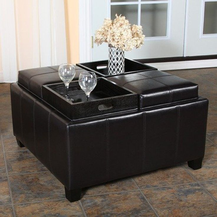 55+ Black Leather Ottoman Coffee Table with Storage - Cool Storage Furniture Check more at http://www.buzzfolders.com/black-leather-ottoman-coffee-table-with-storage/