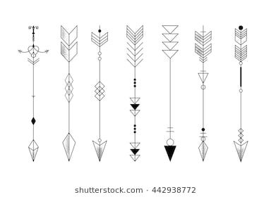 Set of graphic arrows for design, tattoo