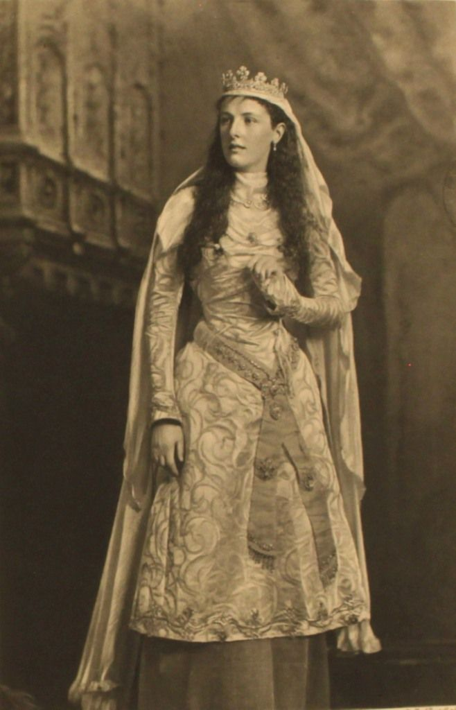 """Other versions of medieval fancy dress. Lady Ampthill as """"a lady of King Arthur's court."""" Photographed by the firm of J. Lafayette at the Devonshire House Ball, July 2, 1897."""