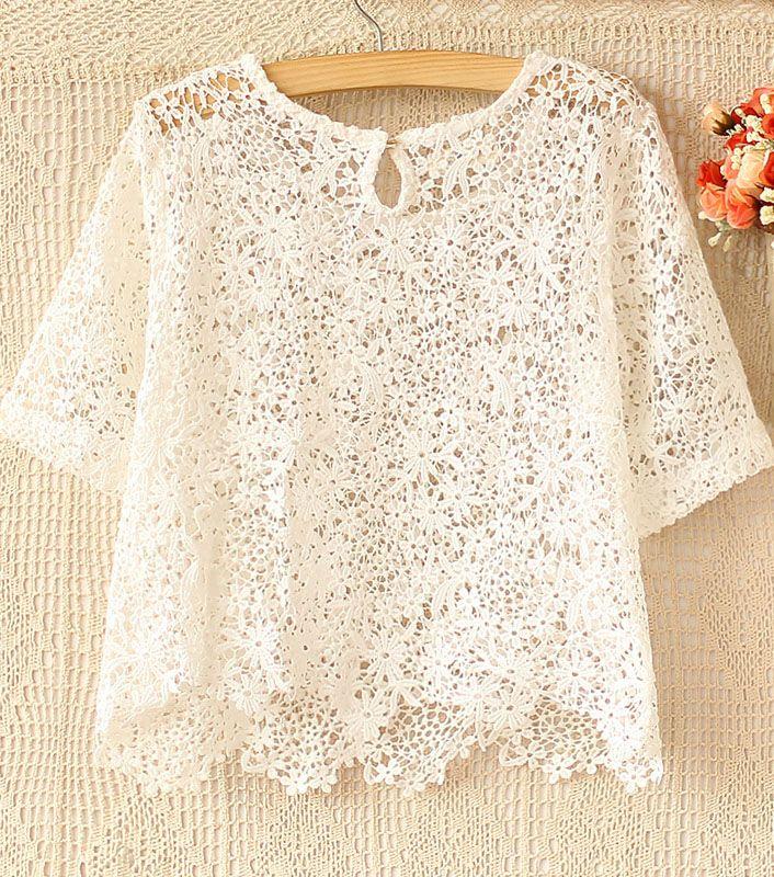 Beige Short Sleeve Crochet Lace Crop Top