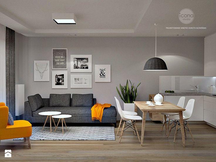 Mieszkanie w Wilanowie - Średni salon z kuchnią z jadalnią, styl skandynawski - zdjęcie od Icona Studio