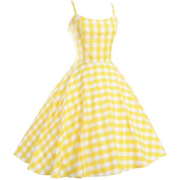 Maggie Tang Women's 1950s 60s Vintage Rockabilly Casual Party Dress ($40) ❤ liked on Polyvore featuring dresses, yellow dress, vintage dresses, vintage rockabilly dresses, rockabilly dresses and vintage cocktail dresses