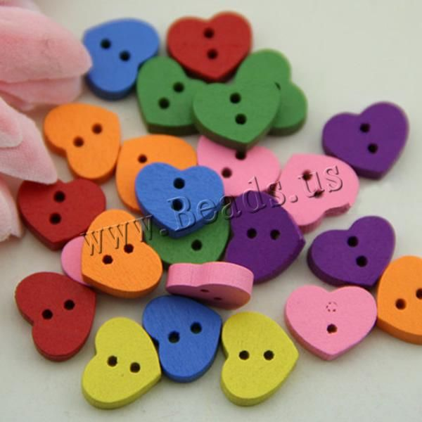 Wood Button, Flat Heart, brushwork, 2-hole, mixed colors