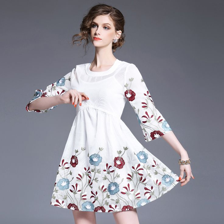 Womens Sexy embroidery dress Sets Elegant Sling long T-shirt and Hollow Out Mesh A-line dresses Suit Female princess Dress 17103