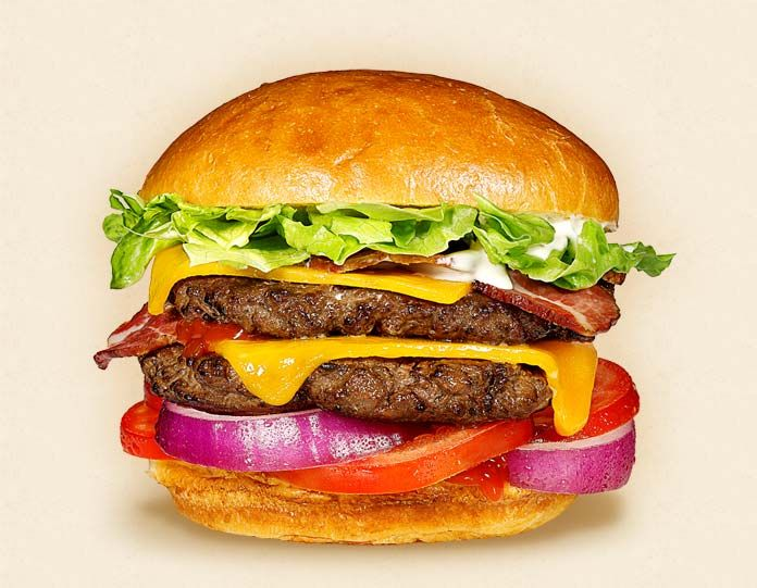 The Uncle Sam:  Wisconsin Cheddar Cheeseburger Recipe.  Other ingredients:  iceberg lettuce, bacon, ketchup, burger bun, 2 beef patties, tomatoes, mayonnaise, and sliced red onions.   - Wisconsin Milk Marketing Board