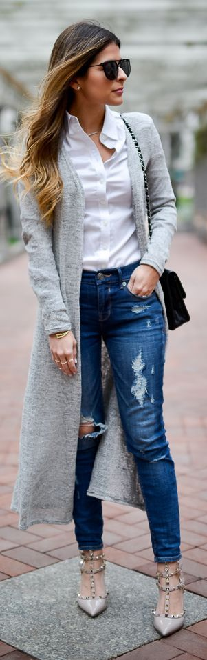 Grey Long Cardi Fall Inspo by The Girl From Panama