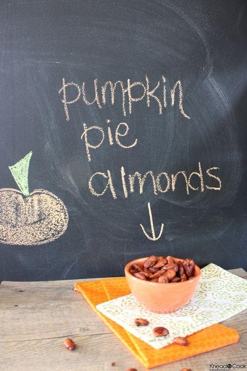 dreaming-of-autumn: PUMPKIN PIE ALMONDS 2 cups raw almonds, 3 tsp cinnamon, 3 tsp pumpkin pie spice, 4 tbs honey, 1 tsp vanilla, sea salt. Bake at 325 for 20 minutes