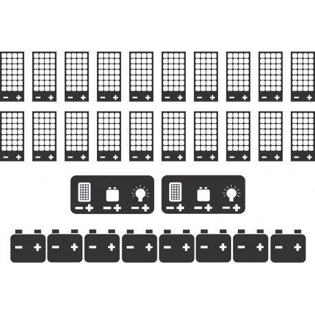 Kit solaire autonome avec : 20 panneaux solaires 200W monocristallin + 2 boîtes de jonction + 2 régulateurs MPPT 48V/45A + 8 batteries AGM 12V/320Ah + Câblage complet