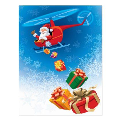 Santa Throwing Gifts from Helicopter Funny Postcard - red gifts color style cyo diy personalize unique