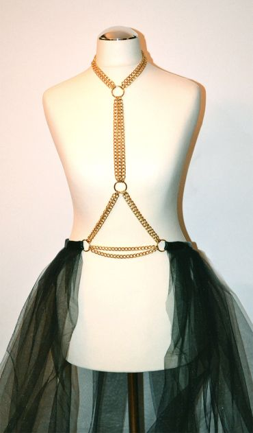 Golden chain harness with golden rings and black maxi veil skirt https://kivaleatheraccessories.wordpress.com/2015/01/19/glamorous-harnesses/