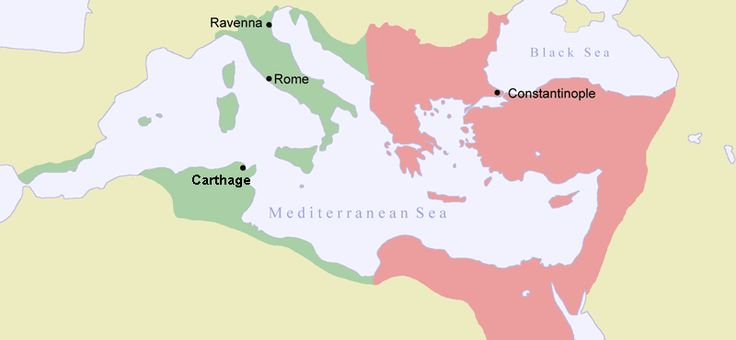 Map of Byzantine Empire ca 550. Green indicates the conquests during Justinianus I:s reign
