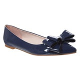 Blue Patent Leather Ballerina Flats With Bow