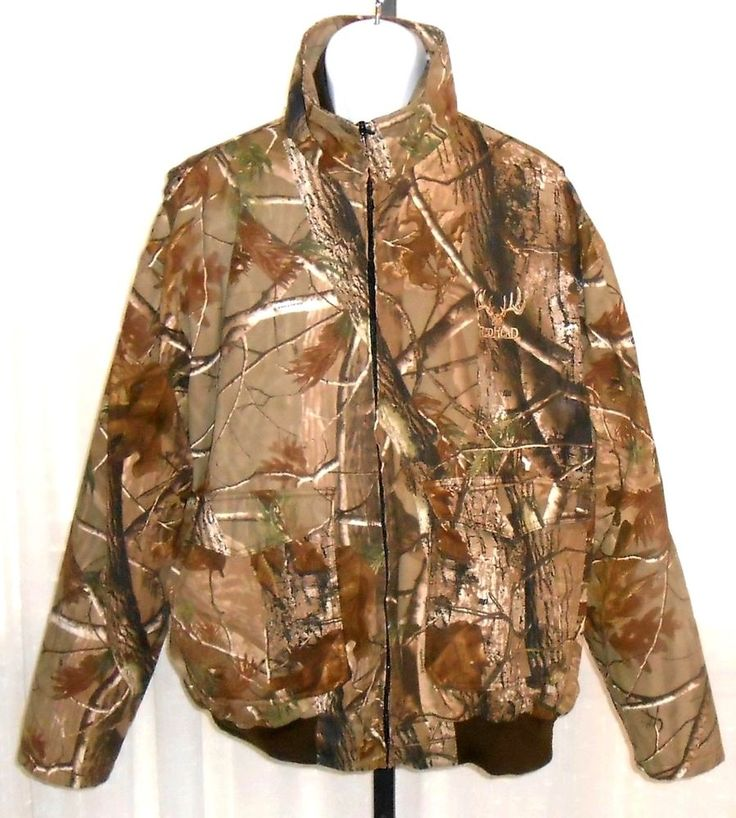 Red Head Real Tree Men's Zip Front Camo Zip Out Lined Hunting Jacket Size 2 XL #RedHead #HuntingGreatOutdoorsJacketZipFront
