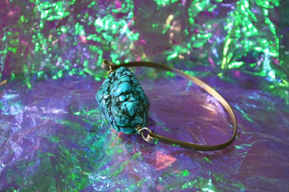 Beautiful hand made Real Turquoise Bracelet. Stainless Brass