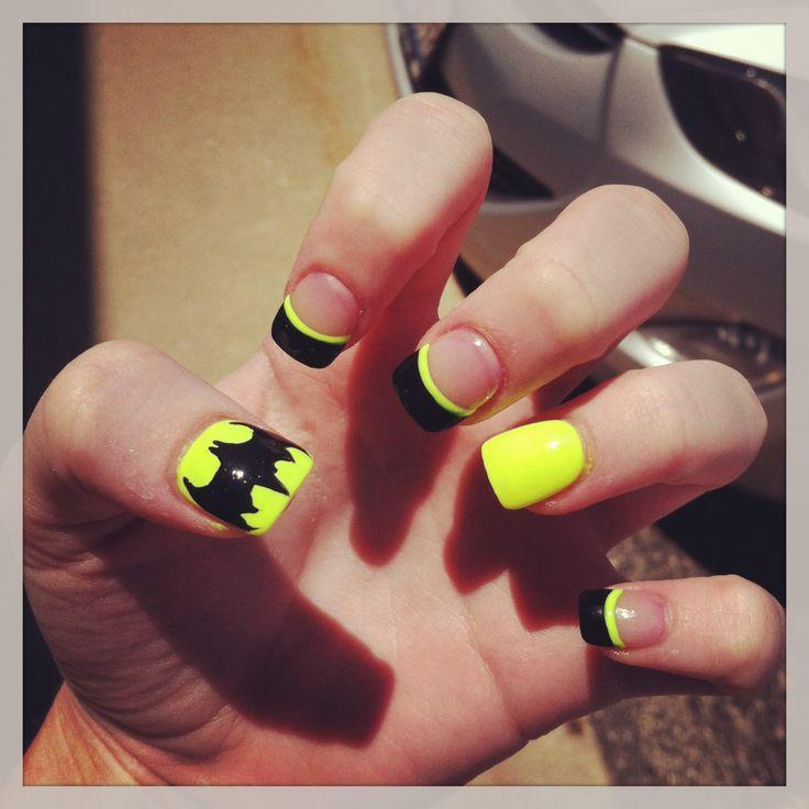 Batman Nails((: - 70 Best Nail Designs Images On Pinterest Acrylic Nails, Make Up