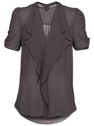 What a cute shirt! This would go with just about everything, I love the deep gray color.