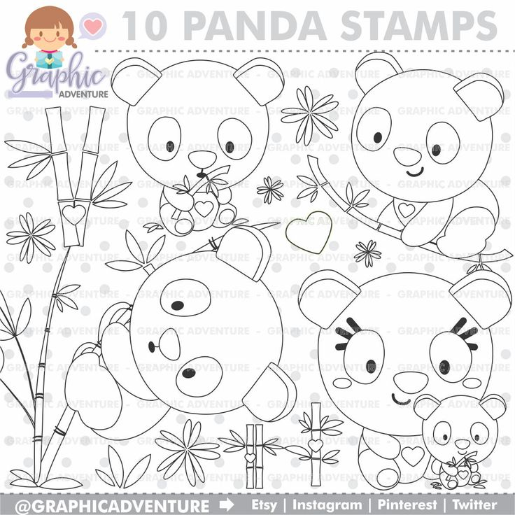 75%OFF - Panda Stamps, Panda Bear Stamps, COMMERCIAL USE, Bear Stamps, Bamboo Stamps, Panda Clipart, Educational Stamps, Planner Stamps