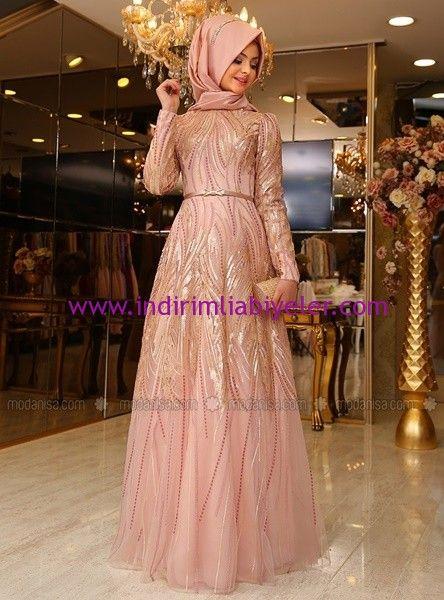 Pınar Şems pudra tesettür abiye elbise