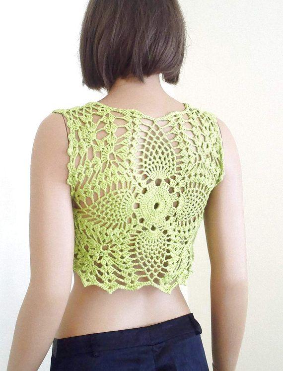 Pistachio green crochet bolero gift for her crochet bolero